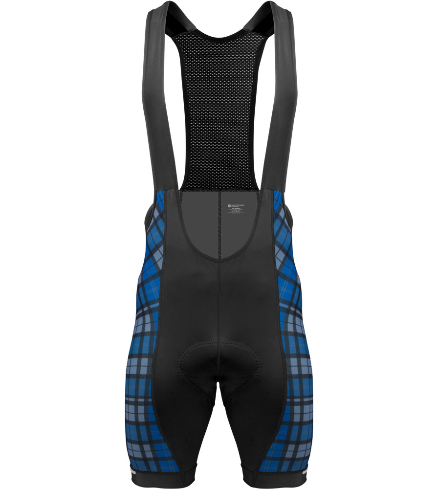 Aero Tech TALL Men's Premiere Bibs - Blue Plaid - Long Cycling Bib Shorts