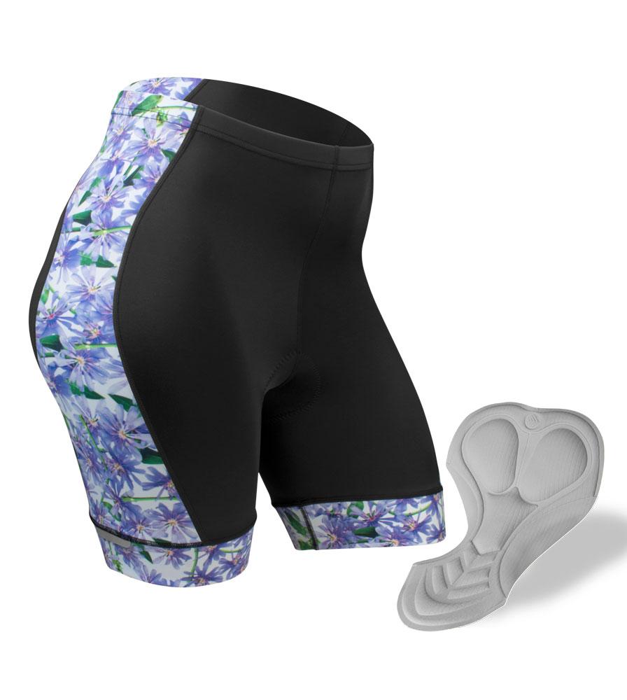 Aero Tech PLUS SIZE Women's Liddy Shorts Purple Flowers Cycling Bottoms
