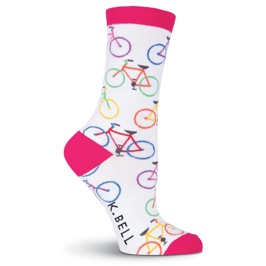 Women's Sock with Bicycles - Colorful Bikes on a White Sock with Pink Cuffs