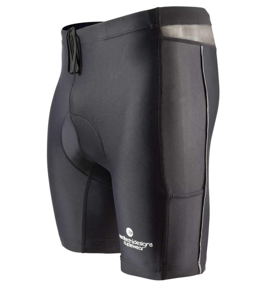 Aero Tech Men's PADDED Cycling Short - Spindoor Short - Compression for Indoor Bike Class - SMALL