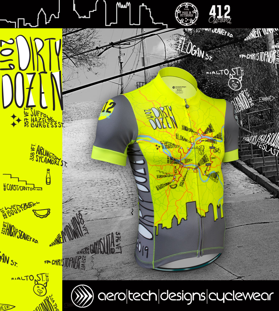 Aero Tech Men's Premiere Jersey - The Pittsburgh Dirty Dozen Official 2019 Cycling Jersey