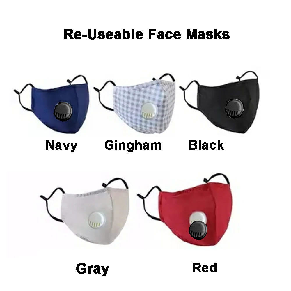 Washable Face Mask Reuseable Cotton three layers w valve and PM2.5 Filter