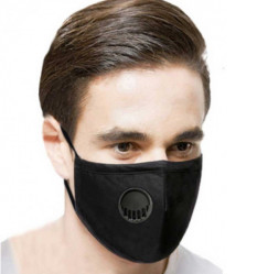 Black Reuseable Cotton Face Mask w Port and Filter - Increased Breathability