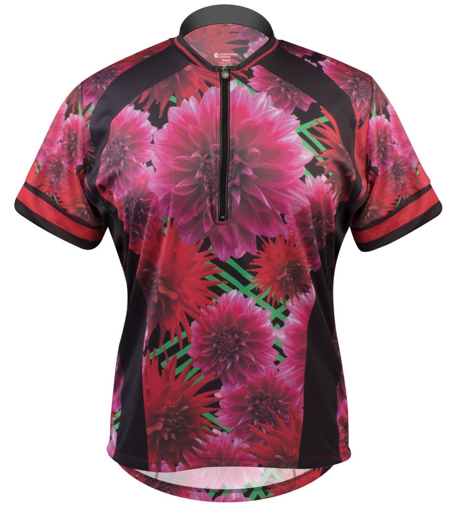 Aero Tech PLUS SIZE Women's Liddy Jersey Dahlia Flowers Plus Size Cycling Jersey