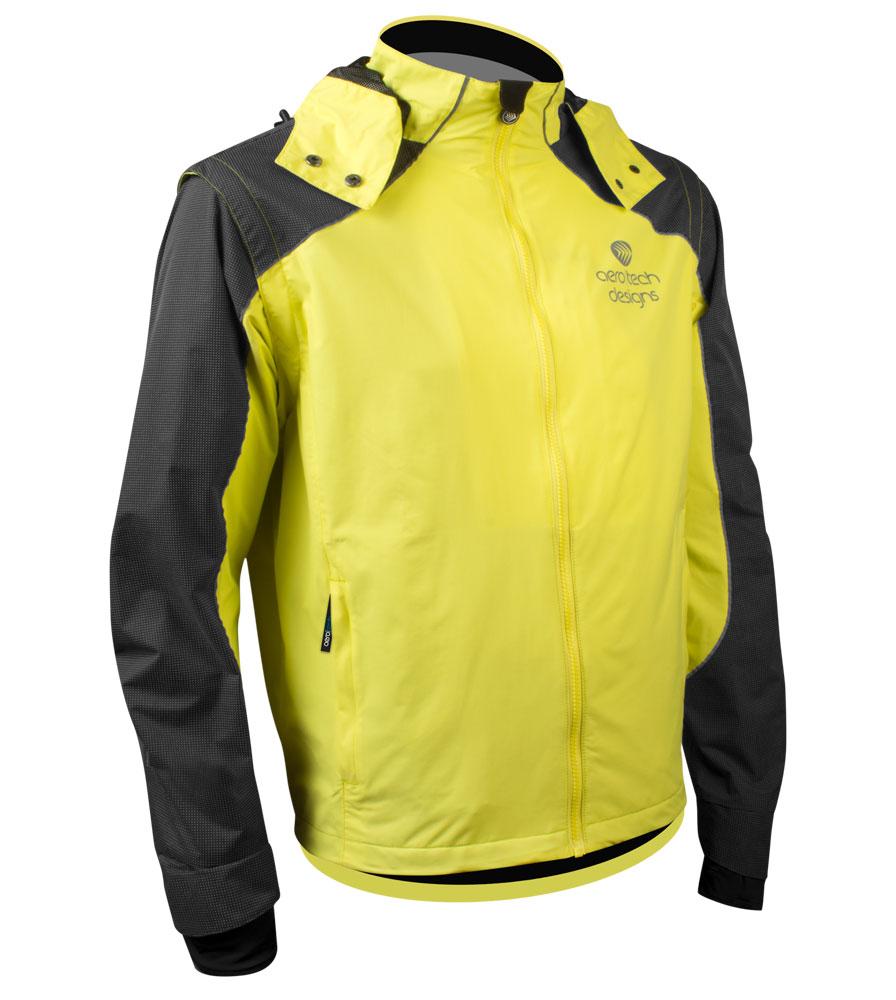 Sizing info for Aero Tech Men's Aero Reflective Cycling Rain Coat - Waterproof Jacket with Zip-Off Sleeves
