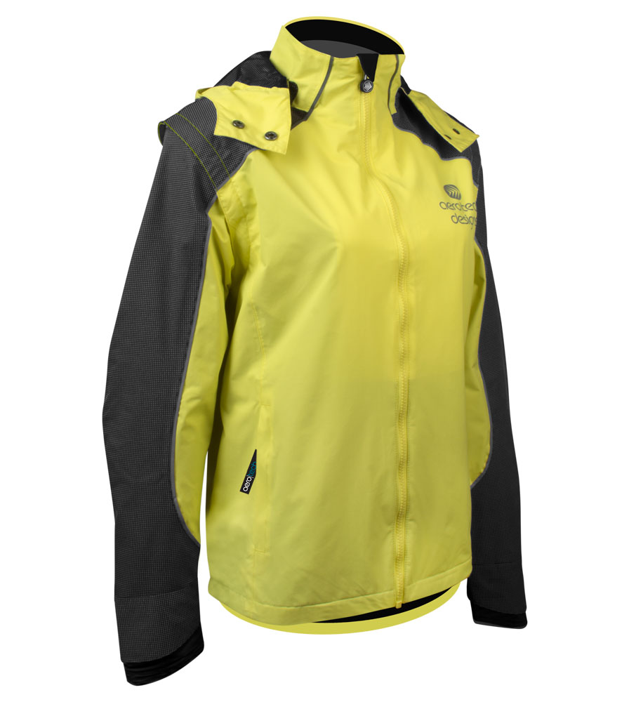 Aero Tech Women's Aero Reflective Cycling  Rain Coat - Waterproof Jacket with Zip-Off Sleeves
