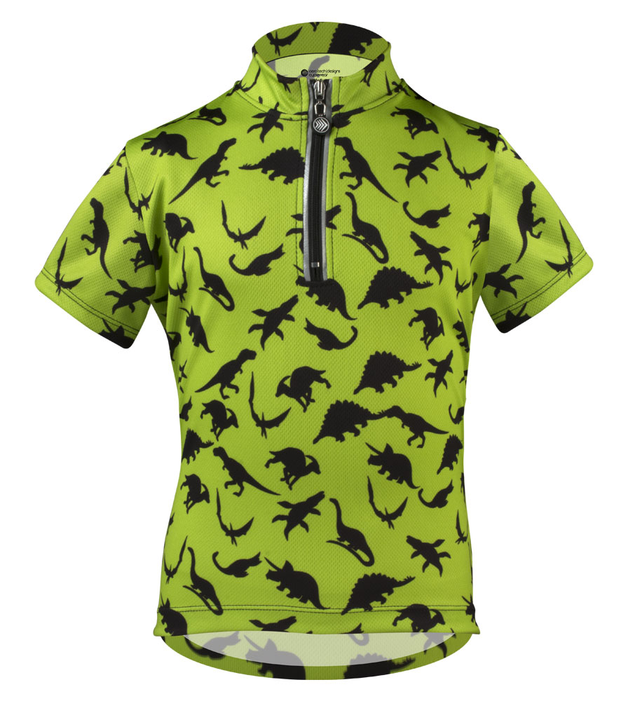 Aero Tech Youth Din-O-Mite Kids Green Cycling Jersey - Dinosaur BIke Jersey for Children Questions & Answers