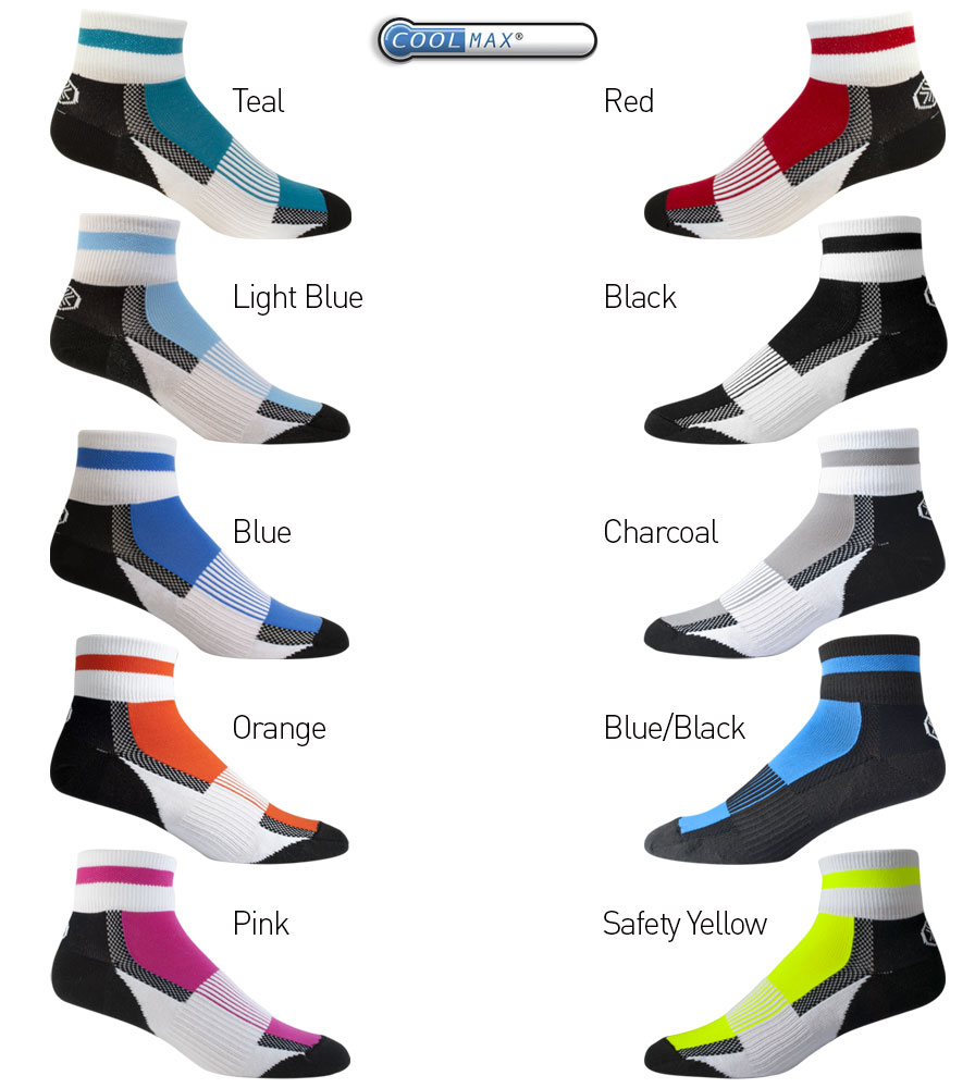 Aero Tech Coolmax Quarter Crew Socks - American Made Sock