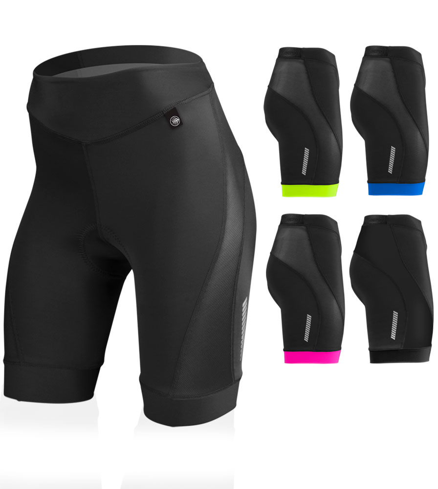 Aero Tech Women's Elite PADDED Bike Shorts with Air Gel and AeroCool Mesh Ventilation