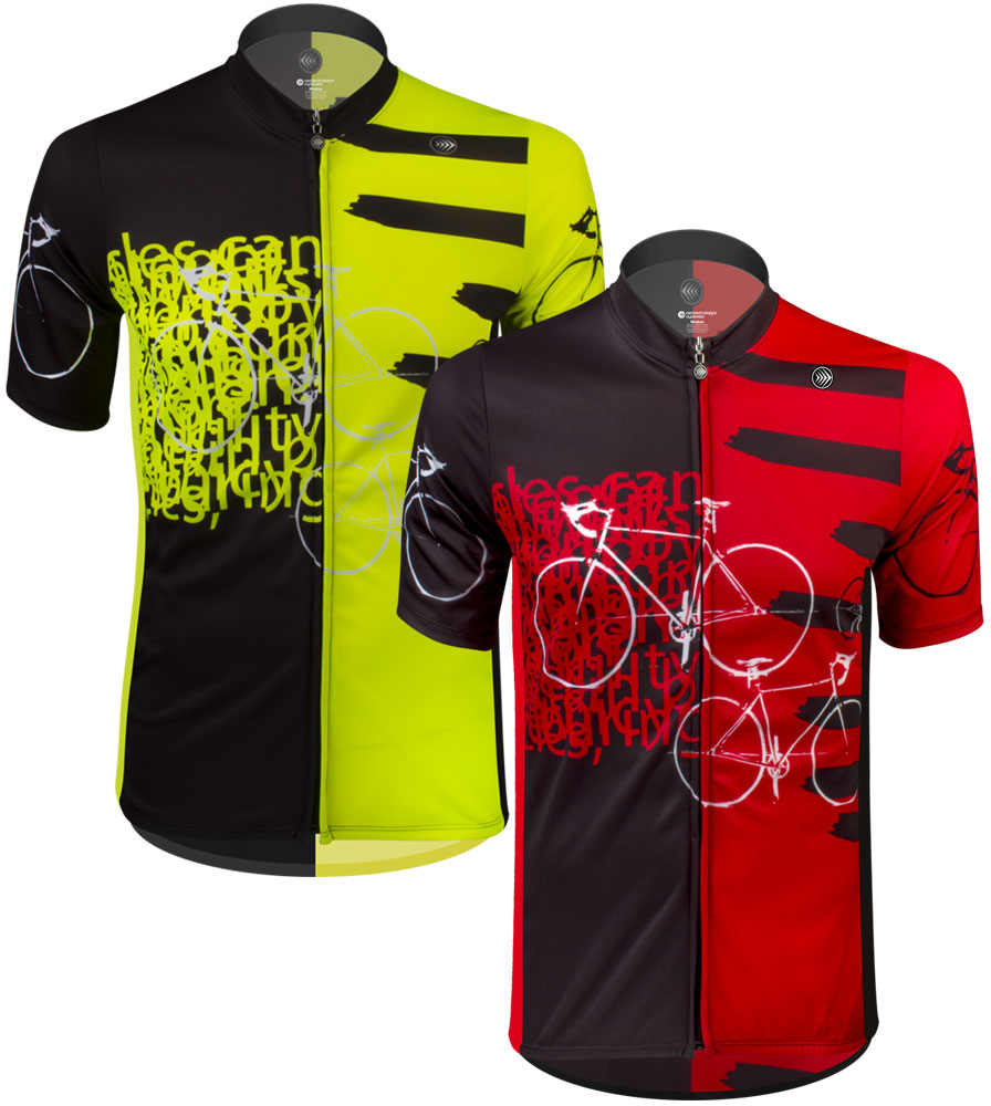 Aero Tech TALL Men's Sprint Jersey - Expressions - Red/Safety Yellow - Cycling Jersey Made in USA