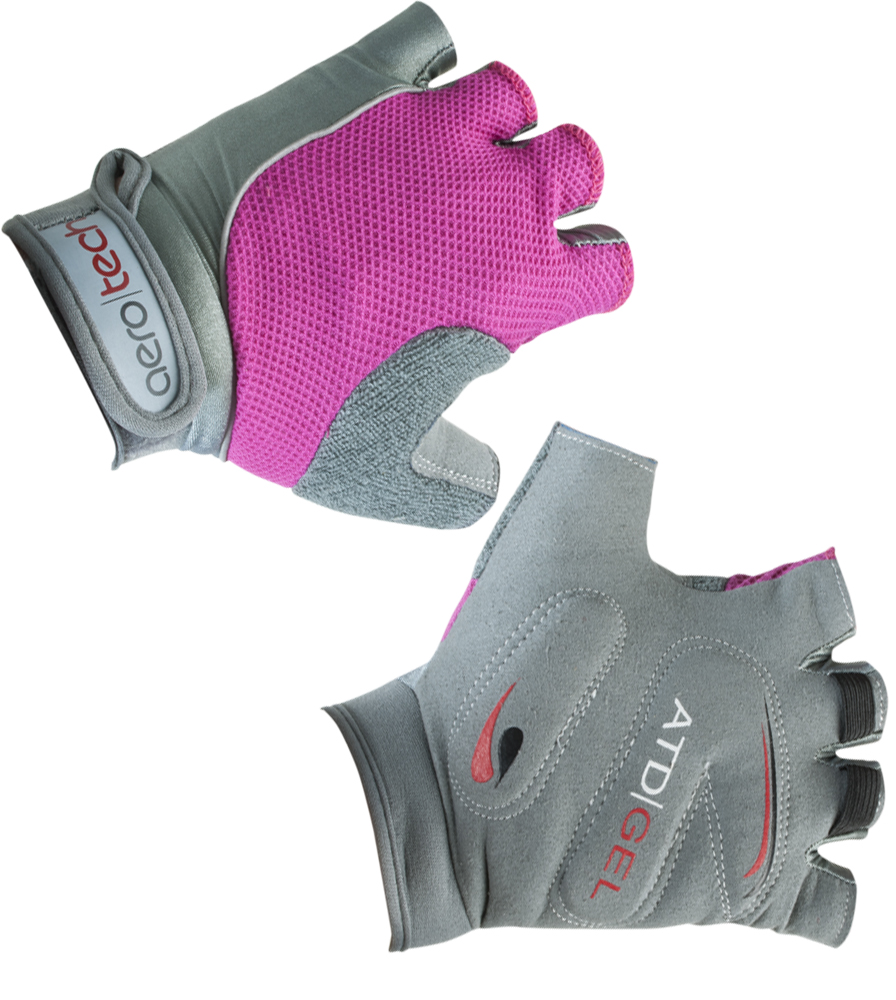 Aero Tech Youth Gel PADDED Fingerless Bike Gloves PINK