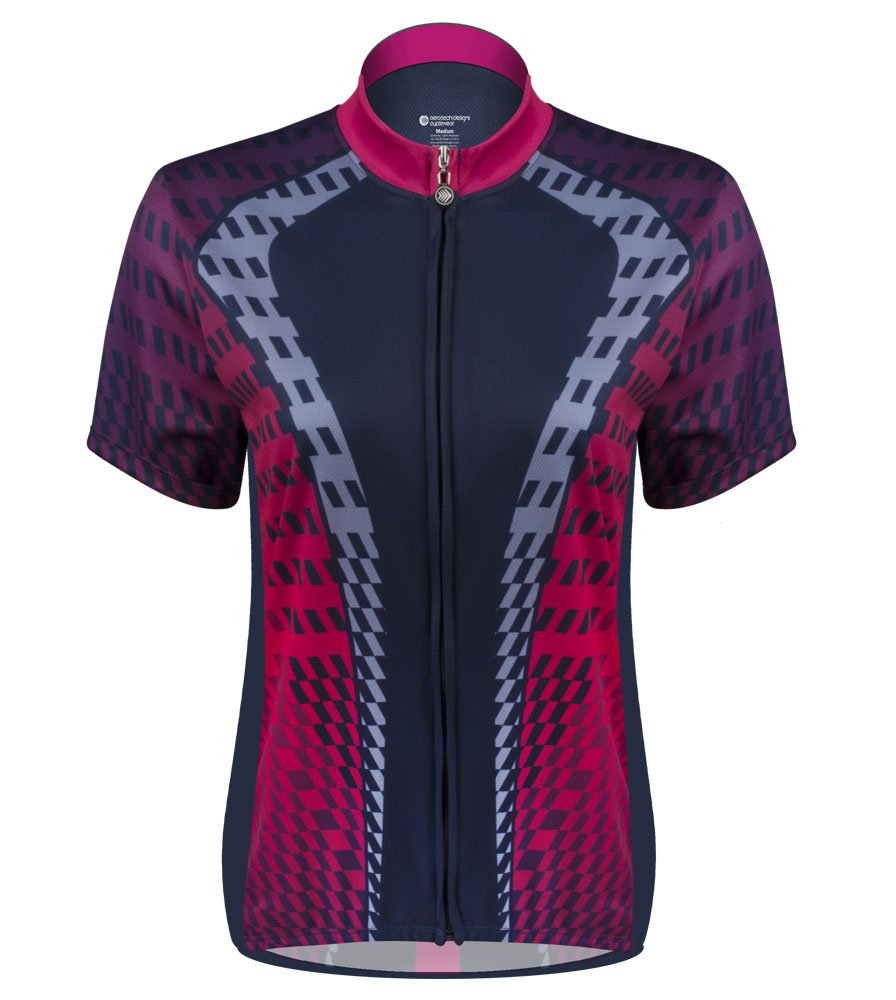 Aero Tech Women's Empress Jersey - Power Tread - Pink - Cycling Jersey Made in USA