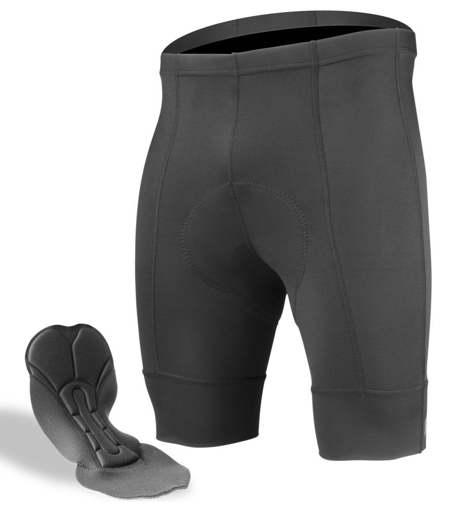Aero Tech Men's Destination Bike Shorts - PADDED Black Pearl Pad and Elastic Free Leg Cuffs - SMALL