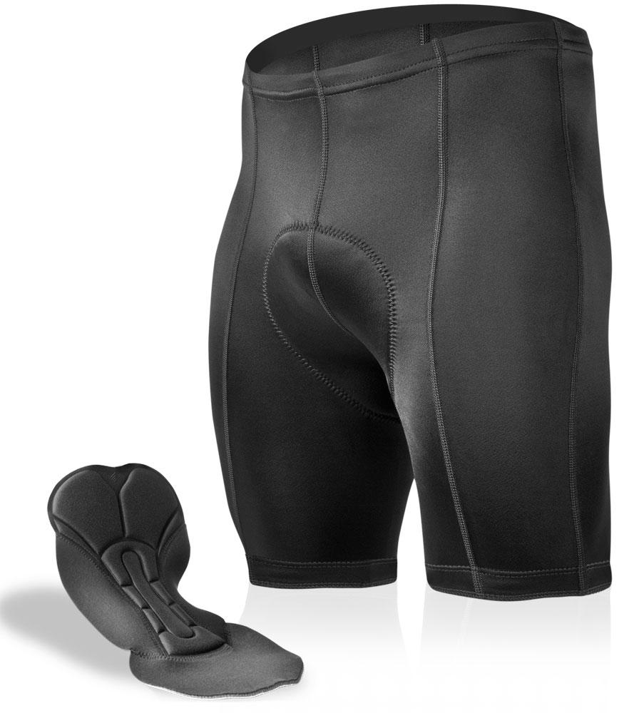 Aero Tech Men's Black P. Petite PADDED Bike Shorts - Black 5 inch Inseam