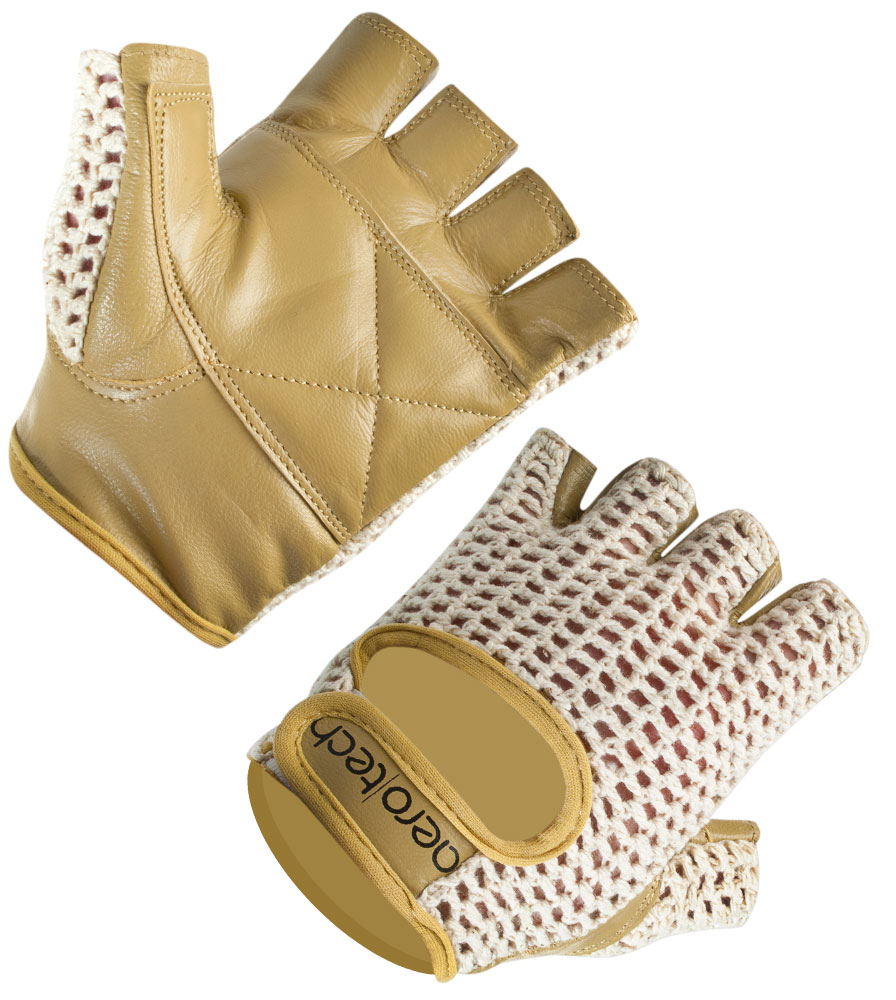 Aero Tech Cycling Gloves - Natural Cotton Crochet Leather Biking Glove