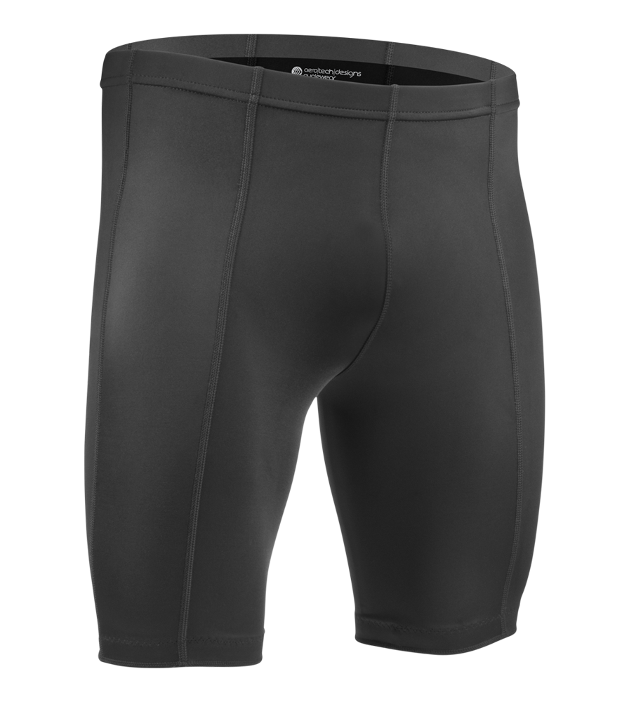 Aero Tech Men's Pro Compression Shorts,  UNPADDED 8 Panel Short - BLACK