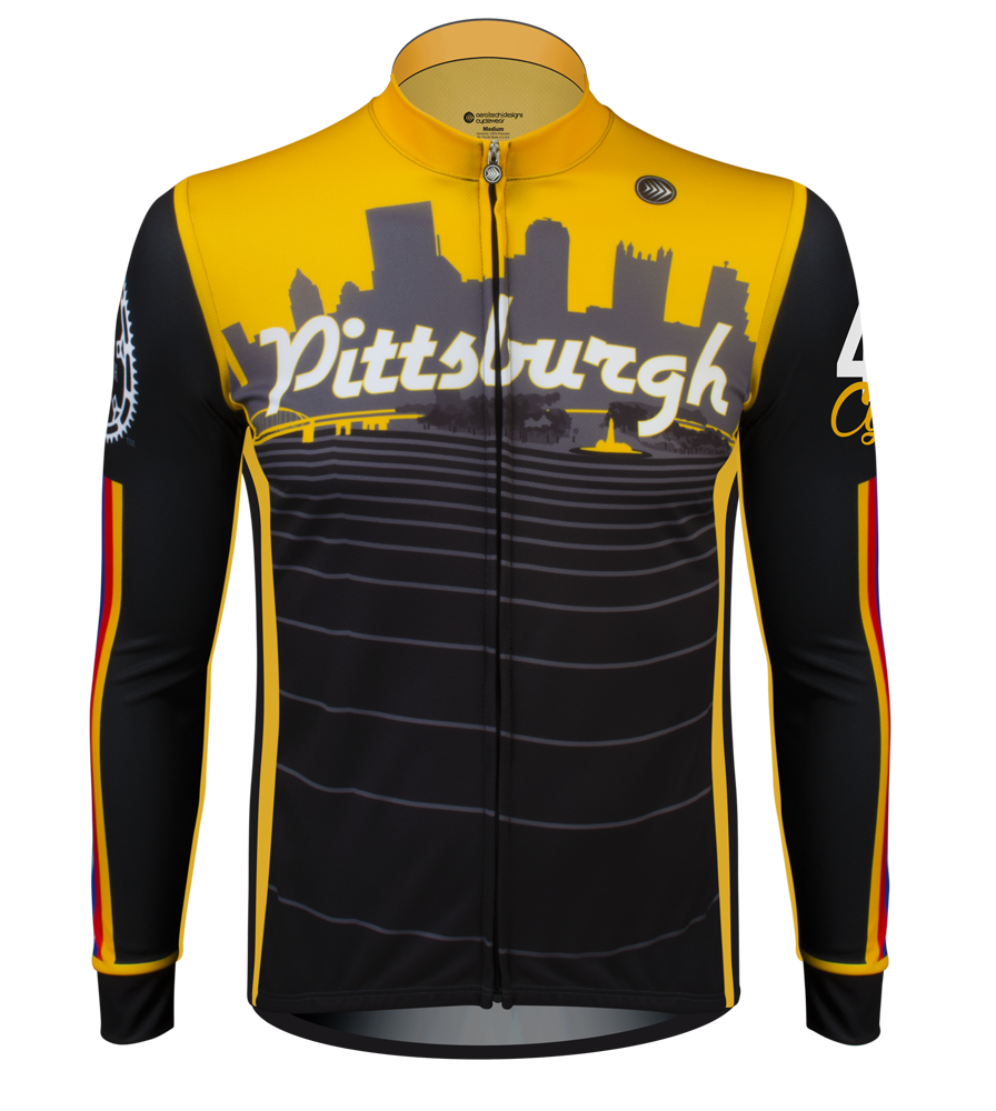 Aero Tech Fitness Long Sleeve Jersey - Pittsburgh Theme - Long Sleeve Bike Jersey - Made in USA