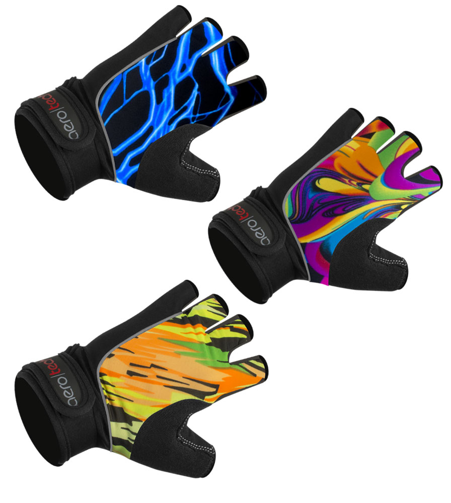 Aero Tech Fingerless Bike Gloves - Wild Print Gel PADDED Palms - Cycling, Lifting, Rowing