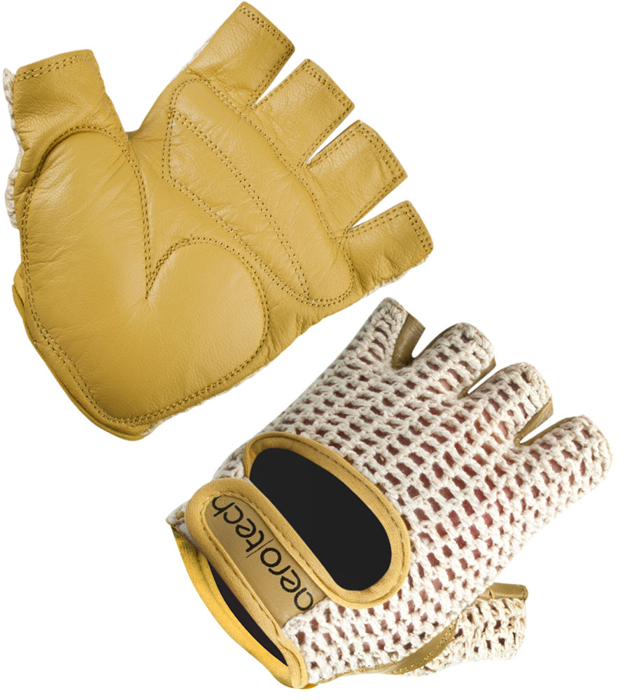 Aero Tech Gel PADDED Leather and Cotton Crochet Fingerless Gloves Questions & Answers