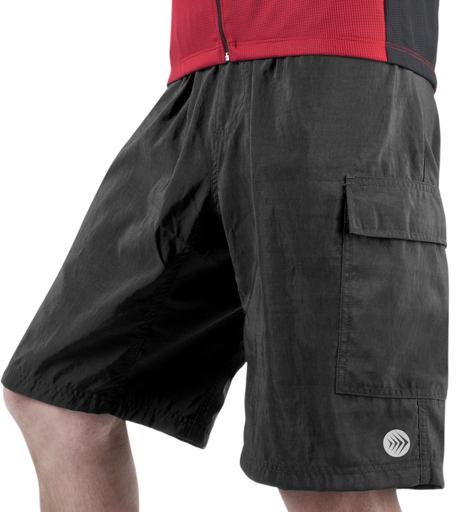 Aero Tech Men's Cargo Mountain Bike Shorts with PADDED Underliner - SMALL