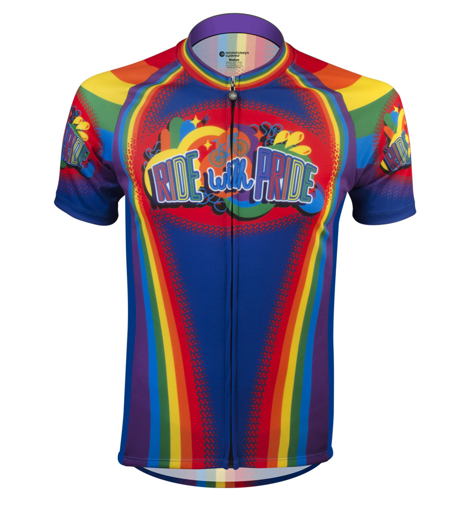 Aero Tech Men's Peloton Jersey - Ride with Pride - Rainbow Cycling Jersey