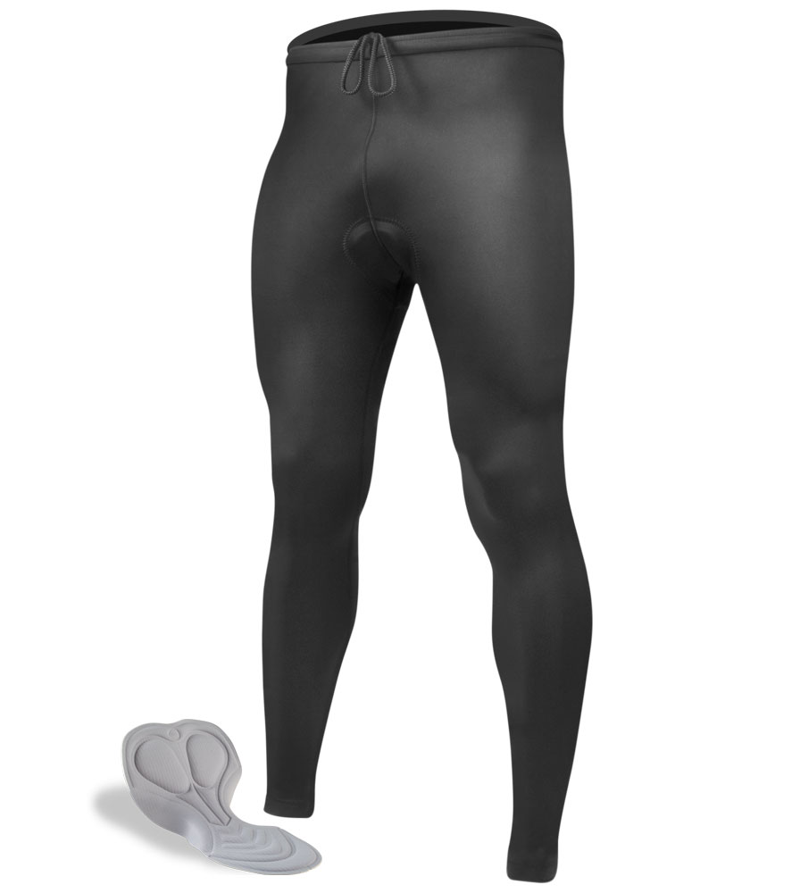 Aero Tech TALL Men's Black Spandex PADDED Cycling Tights (made in USA)