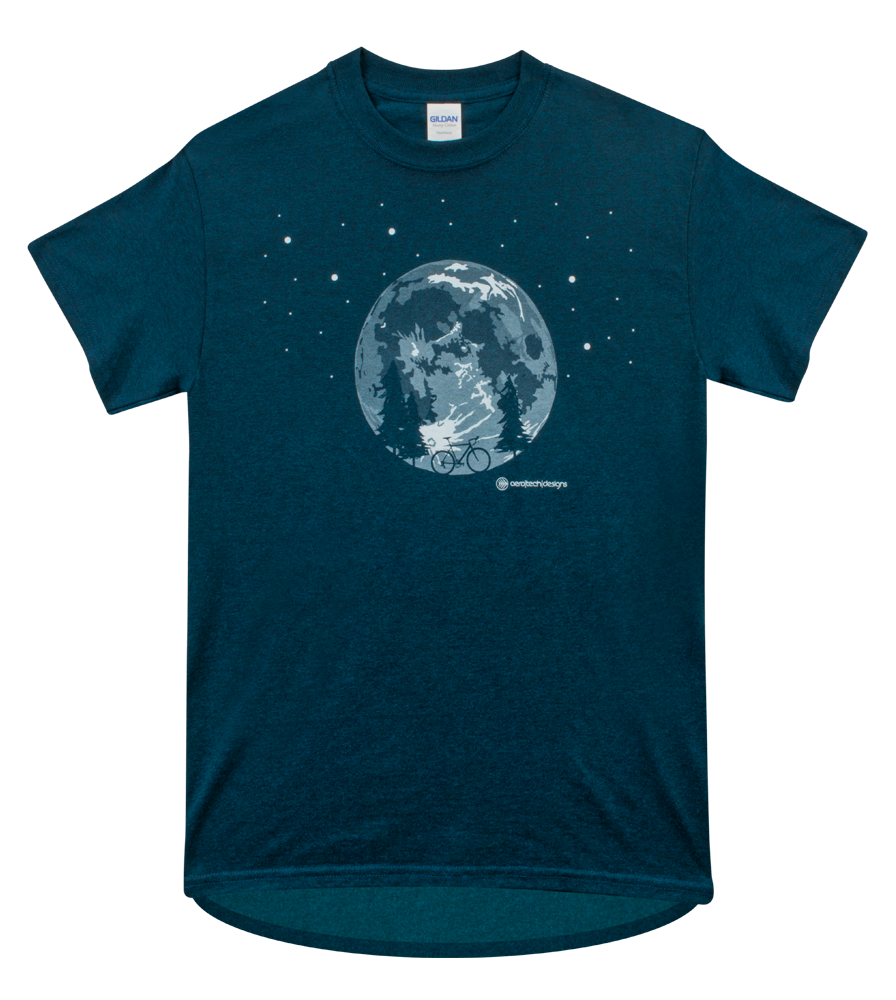 Men's Adventure T-Shirt - Moon Bicycle Graphic on a Cotton Tee Questions & Answers