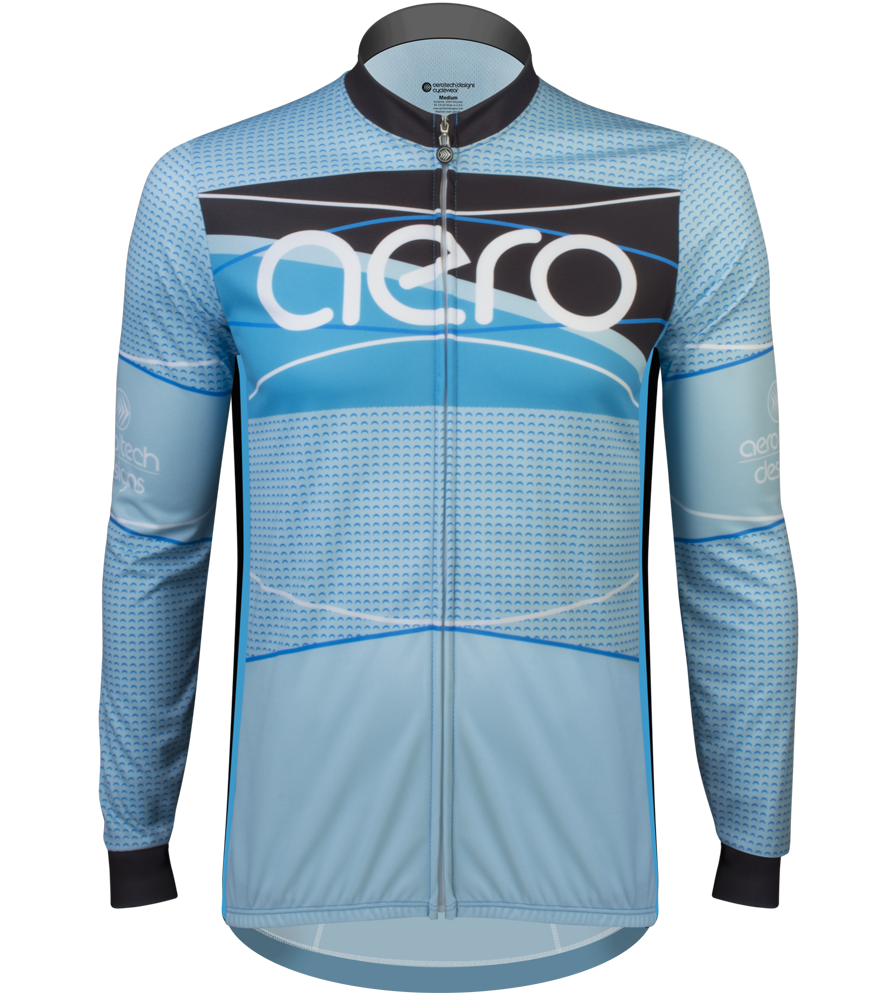 Aero Tech TALL Men's Long Sleeve Sprint Jersey - Ice Detour - Brushed Fleece Warm Cycling Jersey