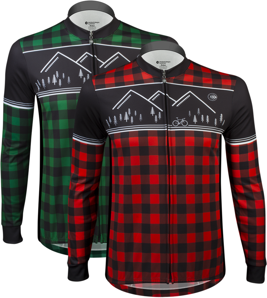 Aero Tech Long Sleeve Sprint Jersey - Lumberjack - Brushed Fleece Cycling Jersey