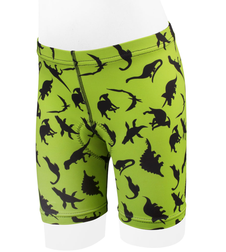 Aero Tech Youth Wild Print Din-O-Mite PADDED Bike Shorts  - High Visibility Dinosaur Green