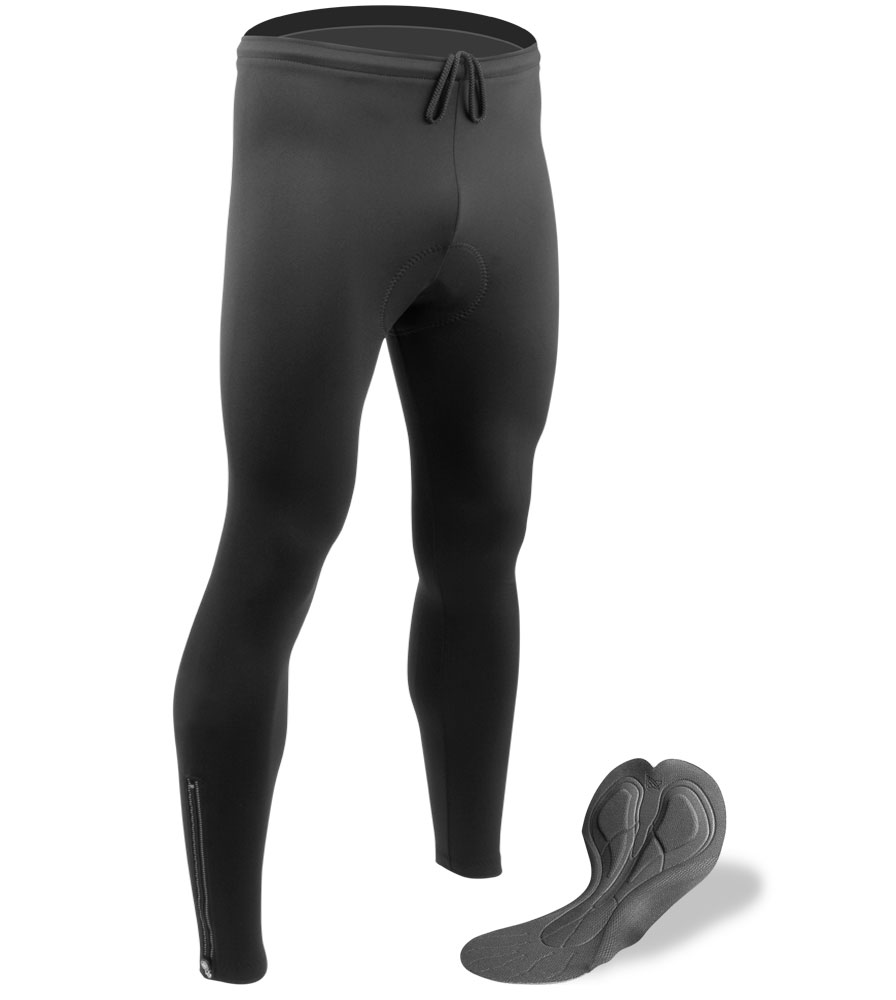 Aero Tech BIG Men's Stretch Fleece Cycling Tights - PADDED for Bicycle Riding