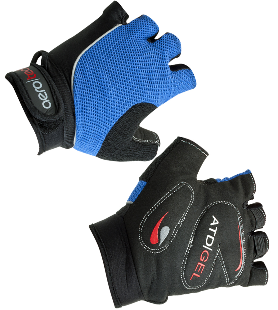 Aero Tech Youth Gel PADDED Fingerless Bike Gloves BLUE