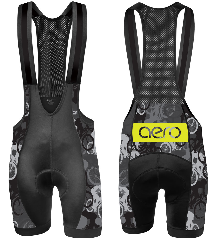 Aero Tech Men's Premiere Bib Shorts - Urban Camouflage - Elite Racing Gear Made in USA