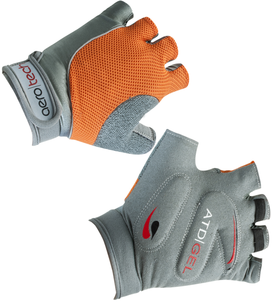 Aero Tech Youth Gel PADDED Fingerless Bike Gloves ORANGE
