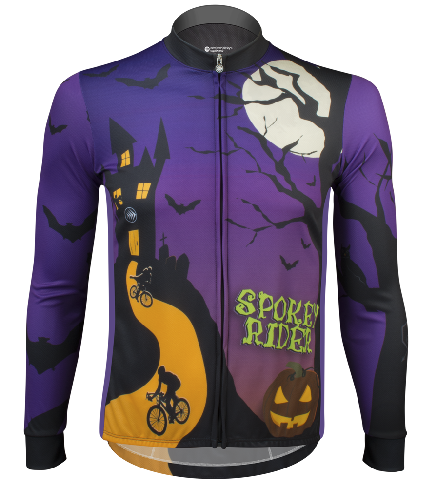 Aero Tech Fitness Long Sleeve Jersey - Spokey Rider - Halloween Bike Jersey -  Made in USA