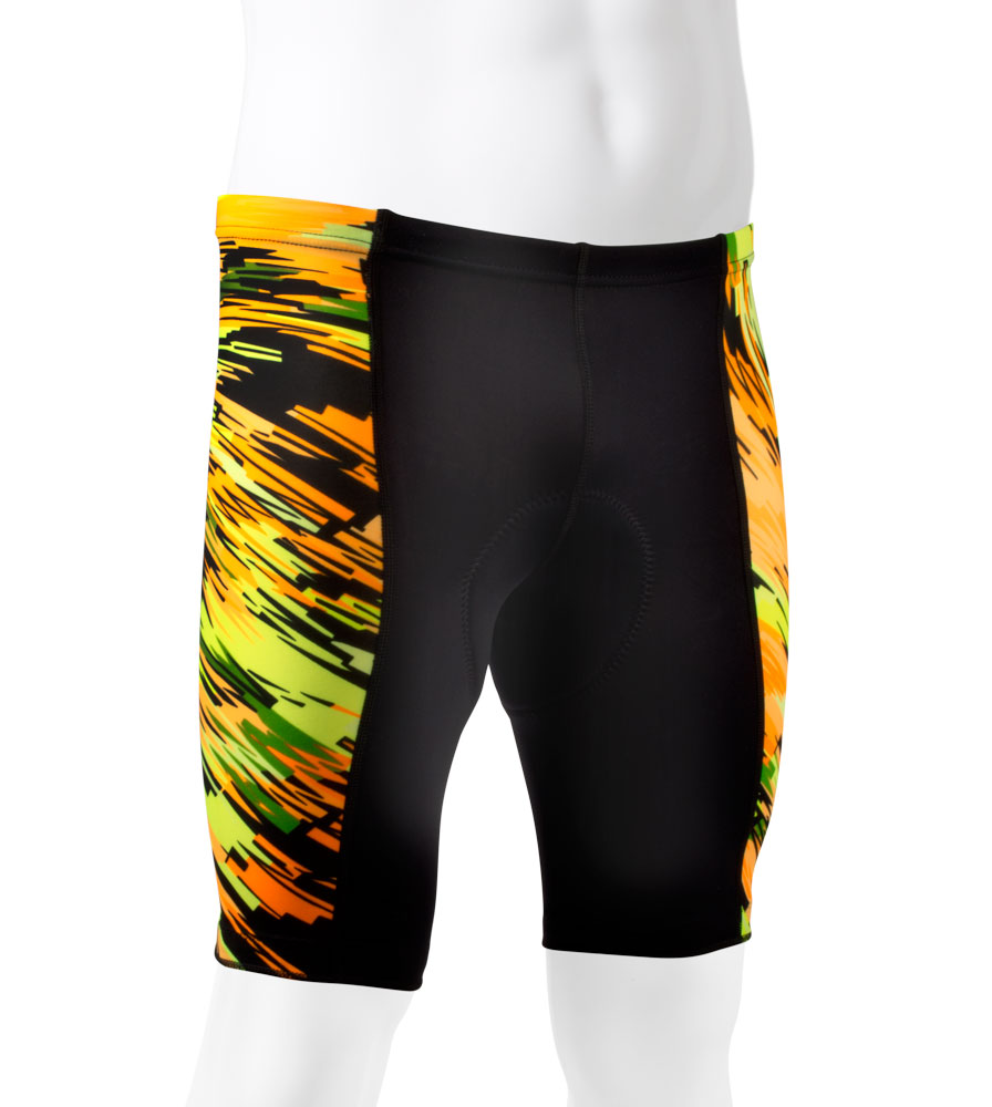 Aero Tech Men's Wild Blur Print PADDED Bicycle Pro Shorts - Made in USA - SMALL