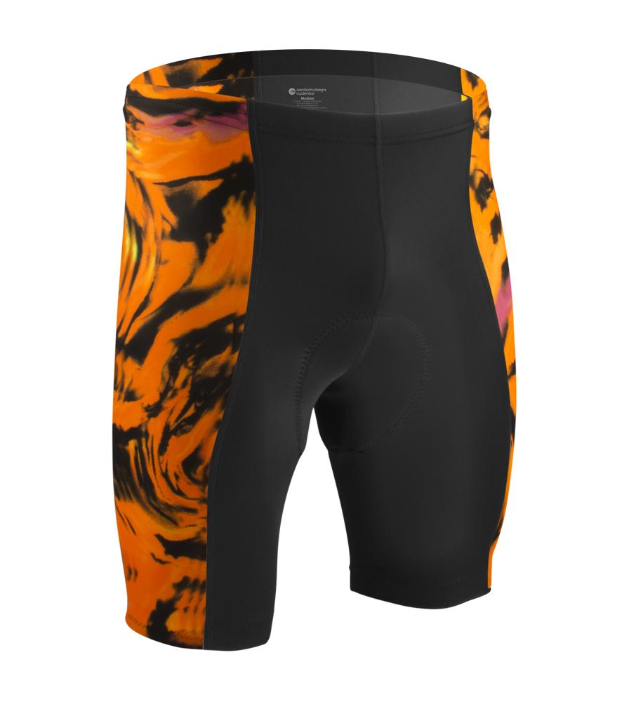 Aero Tech Men's Orange Wave Print PADDED Bike Shorts Questions & Answers