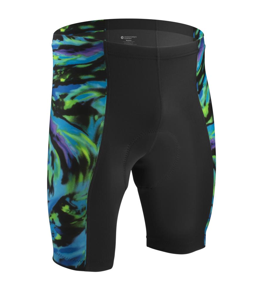 Aero Tech Men's PADDED Pro Blue Wave Wild Print Bike Shorts
