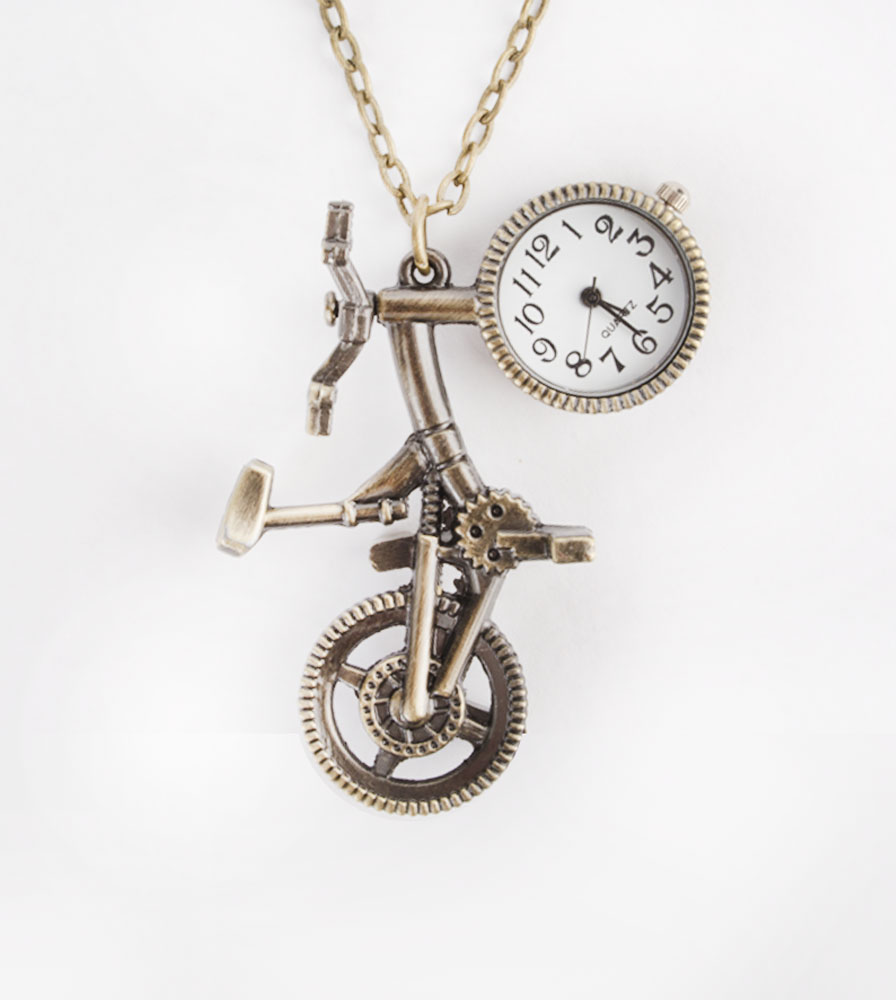 Fad Treasures' Antique Gold Bicycle Watch on chain  Necklace for bike riders