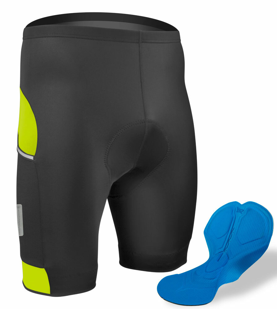 How does the padding in the All Day Cycling shorts compare to the padding in the Gel Pad
