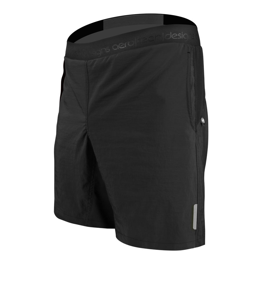 "Aero Tech Men's USA MTB PADDED Mountain Bike Shorts w Shorter 8"" Inseam"