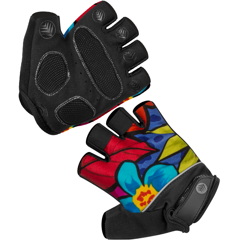 Is there padding on the palms of the tropical print fingerless.
