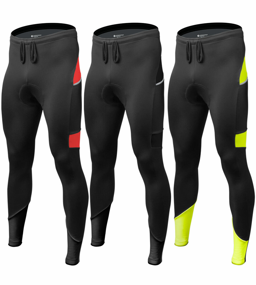 Aero Tech Men's All Day Cycling Tights with Pockets and Reflective